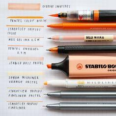 """4,099 Likes, 64 Comments -  s t u d y g r a m (@rotina_de_estudo) on Instagram: """"{} estas são as minhas canetas favoritas em tons laranja ❤  Ideia do post: @jhonstudies e…"""""""