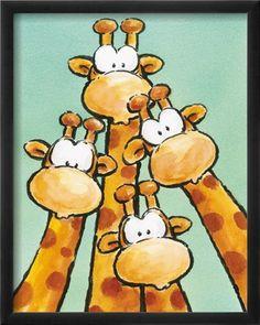 ''Funny Friends Ii'' by Jean Paul Kunst Graphics Art Print Animal Paintings, Animal Drawings, Cute Drawings, Art Fantaisiste, Art Mignon, Giraffe Art, Giraffe Drawing, Cartoon Giraffe, Whimsical Art