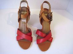 NEW Dolce Vita DV Syris Red Leather Wedge Sandals Size 8 #DolceVita #PlatformsWedges #Casual