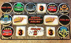 Blaze and the Monster Machines custom birthday set! Birthday Themes For Boys, Third Birthday, 3rd Birthday Parties, Blaze Cakes, Monster Truck Cookies, Birthday Cookies, Royal Icing Cookies, Custom Cookies, Cookie Ideas