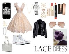 """""""Lace Dress"""" by fergusroderickmacleod ❤ liked on Polyvore featuring Converse, Chanel, Topshop, Michael Kors, Kendra Scott, Tommy Hilfiger, Accessorize, Bobbi Brown Cosmetics, H&M and dress"""