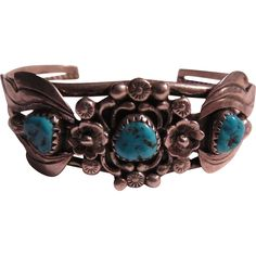 Native American Signed  Silver Turquoise Bracelet