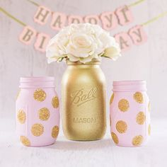 c674b7af12c pink and gold birthday - gold glitter mason jar set - pink and gold first  birthday