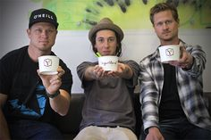 Hunger Fighters Brian Dueck, Zane Keith, and Kevin Dueck insode Yogurtland Capitola.