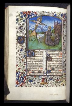 St Francis receiving the stigmata. 15th century. Image source: British Library MS Harley 2967.