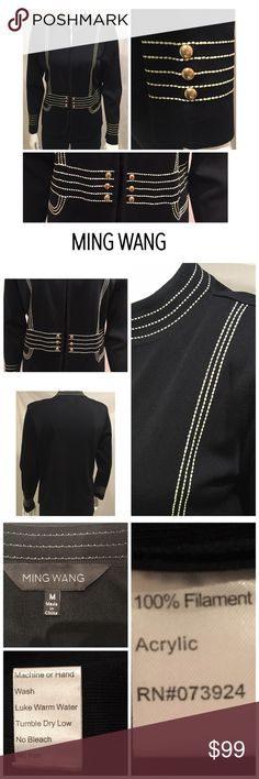 "Ming Wang Black Military Style Open Cardigan Med Ming Wang Military Style Open Cardigan Long Sleeve Black Sweater Medium   Gorgeous sweater Quality fabric and construction No zipper/closure  Stitching is more ivory/off white  Gold hardware on sleeves and in front Shoulder pads   Black shell and black pants NOT included with purchase. Listing is ONLY for the cardigan- shown in last photo as is on its own  21"" bust from armpit to armpit  24"" length from center- top of collar to bottom hem…"