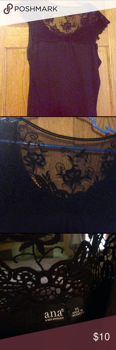Cute black lace top Lace on the shoulders and top of the back, very cute, lightweight top a.n.a Tops