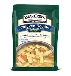 Chicken Noodle Soup. This classic Bear Creek® soup is loaded with hearty egg noodles and a tasty variety of veggies. All brimming in rich chicken flavor lightly seasoned with herbs.
