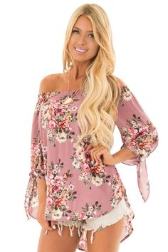 3de8e0aa4f0e7 Lime Lush Boutique - Dusty Rose Floral Off the Shoulder Blouse with Tie  Sleeves