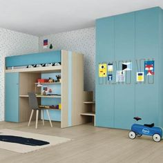 Battistella Nidi Lila Bunk Bed Pictured with the Nit hinged door wardrobe with Spider organiser system, it's the perfect collection of kid's for when space is precious Cool Loft Beds, Bunk Beds Small Room, Bunk Bed With Desk, Wooden Bunk Beds, Bunk Beds Built In, Kids Bunk Beds, Small Rooms, Childrens Bedroom Furniture, Kids Bedroom