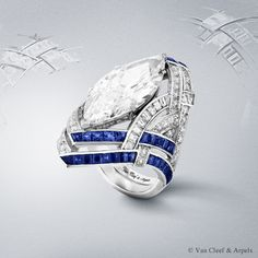 Van Cleef & Arpels Camaieu de Bleus ring, Pierres de Caractère Variations collection. White gold, round and baguette-cut diamonds, baguette-cut medium and intense blue sapphires and one marquise cut D IF type 2A diamond of 11.22 carats.