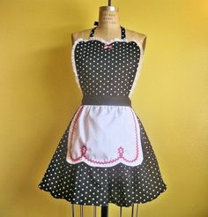 Items similar to Retro APRON I Love Lucy black polka dot sexy hostess apron vintage inspired on Etsy Retro Apron, Aprons Vintage, I Love Lucy, Cool Aprons, White Apron, Apron Dress, Vintage Inspired, Fashion Outfits, Trending Outfits