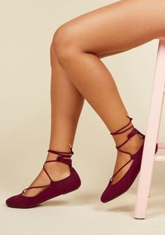 Lace to the Top Flat in Maroon - Red, Solid, Work, Casual, Minimal, Fall, Good, Lace Up, Red, Saturated, Flat