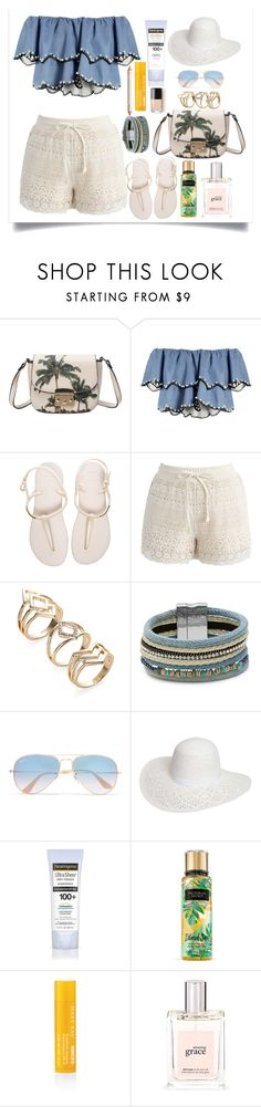 """""""sunlight"""" by nrostova ❤ liked on Polyvore featuring HUISHAN ZHANG, Havaianas, Chicwish, Design Lab, Ray-Ban, Dorothy Perkins, Neutrogena, Mary Kay and philosophy"""