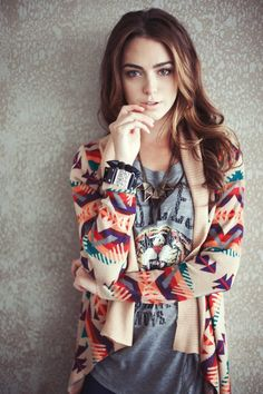 Tribal soft swingy cardigan, casual logo tee....makeup and hair spot on