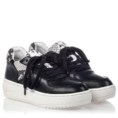 Ash Fool Womens Lace Up  Sneaker Black Roccia Snake Print Leather 350028 (979) $215