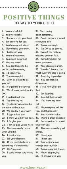 As parents, the way we speak to our children is incredibly important. Words can build kids up, and they can just as easily tear them down. Check out our list of 55 positive things to say to your child on a daily basis. Bond while you build their confidence. #beenke #parenting #ParentingAdvice