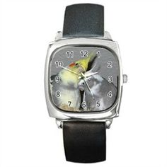 Silver square shaped watch with a leather band and Cockatiels on the face. http://www.cockatoocreations.com/categories/Jewelry/Watches/