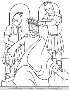 Sorrowful Mysteries Rosary Coloring Pages - The Crowning of Thorns Jesus Coloring Pages, School Coloring Pages, Colouring Pages, Coloring Pages For Kids, Coloring Books, Easter Coloring Sheets, Easter Colouring, Bible Story Crafts, Bible Crafts For Kids