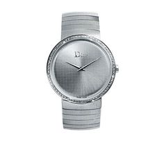 From Les Pierres de Julie: Vintage Dior stainless steel watch with diamonds 38 mm. Very elegant.