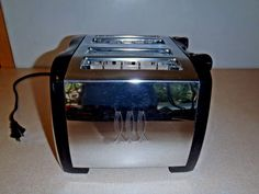 Toastmaster 4 Slice Toaster Wide Retro Stainless Steel Black T2050 RARE #Toastmaster