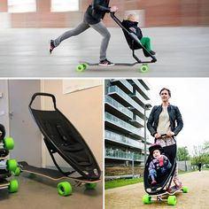 Skateboard baby stroller that comes with brakes and handlebars for steering. Seems pretty safe..yeah till ya crash
