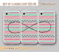 Best friends Forever, infinity wish and Aztec iPhone 4 Case, iPhone 4s Case, iPhone 4 Hard Plastic Case,Personalized iPhone Case,water proof on Etsy, $23.99