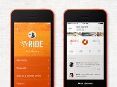 We Ride iPhone App #iphone #app #design #appdesign #inspiration #interface #UX #UI #GUI http://ramotion.com #ramotion #dribbble #behance #mobile #iOS7 #flatdesign