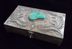 Vintage Navajo Silver and Turquoise Jewelry Box Huge Old Pawn ST561 | eBay