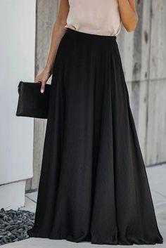 Long Raised Waist Skirt For Women - Power Day Sale Long Skirt Outfits, Winter Skirt Outfit, Waist Skirt, Dress Skirt, Maxi Skirt Black, Herzog, Satin, Skirt Fashion, Emo Fashion