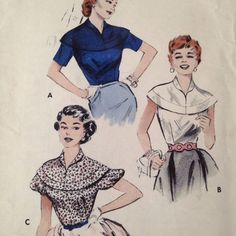 Butterick sewing pattern 6984 allows for the nicest way to dress-up a skirt... a crisp little blouse with dropped shoulder yoke, roll collar. (View A) Short sleeves. (View B) Sleeveless blouse.; yoke spans the shoulders. (View C) Gay puffed sleeved version. #MCM #Rockabilly #PinUp