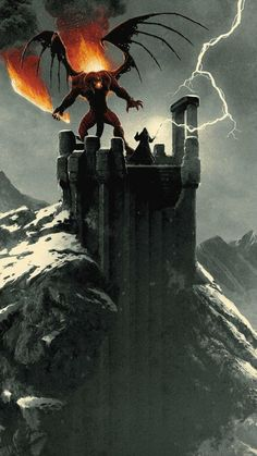 Stunning 'LOTR' Gandalf Posters By Matt Ferguson Gandalf vs the balrog. Jrr Tolkien, Legolas, Thranduil, Gandalf Balrog, Aragorn, Sci Fi Fantasy, Fantasy World, Midle Earth, John Howe