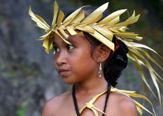 Girl in Kaday village, Yap, Micronesia, taking part in a weekly traditional dance, photograph by Patrik Nilsson