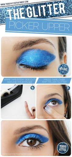 Glittery eye makeup is perfect for the evening party.