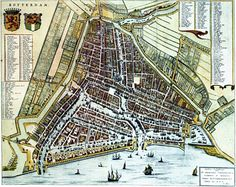 Blaeu Atlas: Rotterdam - biggest seaport of the world in The Netherlands. Rotterdam Port, Rotterdam Netherlands, Future Buildings, Walled City, Old Maps, Vintage Maps, City Maps, Historical Maps, Aerial View
