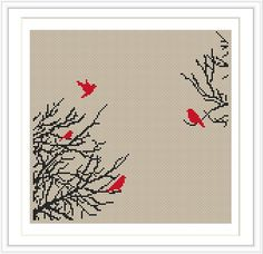 Bird Tree Cross stitch pattern, cross stitch PDF, silhouette cross stitch, Insta… – My CMS Cross Stitch Tree, Cross Stitch Fabric, Cross Stitch Animals, Counted Cross Stitch Patterns, Cross Stitch Charts, Cross Stitch Designs, Cross Stitching, Cross Stitch Embroidery, Embroidery Patterns