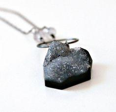 Druzy Necklace, Grey Drusy on Dark Black Oxidized Sterling Silver Chain, Nebula