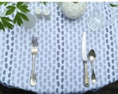 Modern Brushstroke Pattern of Dots and Stripes on Linen Tablecloth Choice of Size Color Original Design Nadine Westcott Wedding Tablecloth