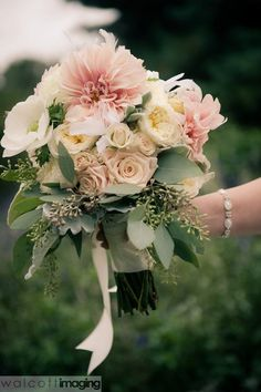 Beautiful pastel wedding bouquet from Tracy Park of Park Place Design