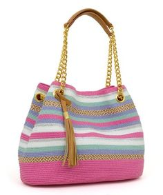 Take a look at this Pink & White Medley-Stripe Shoulder Bag on zulily today!
