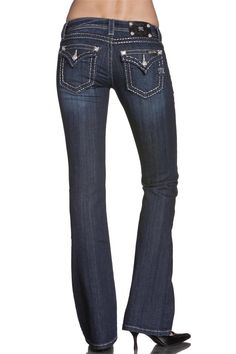 These Miss Me Junior's DK 148 Bootcut Jeans five-pocket jeans feature plain pocket styling, bootcut legs, and silver stitching. Designed for comfort a Butterfly Stitches, Jeans Pants, Cut Jeans, Shorts, Cute Boots, Country Outfits, Miss Me Jeans, Western Wear, Polyvore Outfits