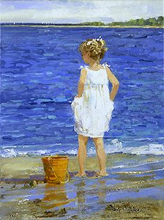 The White Sundress by Sally Swatland - 16 x 12 inches Signed impressionist beach scenes children playing contemporary american chase pothast Seaside Art, Coastal Art, Beach Art, White Sundress, Landscape Quilts, Beach Scenes, Beautiful Artwork, Love Art, Kids Playing