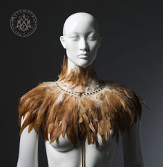 Light brown feather capelet / Feather shoulder wrap by MetamorphQC