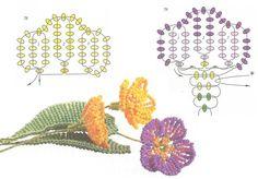 схема плетения примулы из бисера