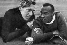 Luz Long and Jesse Owens at 1936 Berlin Olympics
