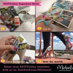 DIY Decoupage Comic Book Shoes (based on Michaels Craft Store picture) — RedLotusDesignz