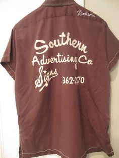 Vintage Chocolate Brown Bowling Shirt Size 36 by MemphisNanney, $12.50