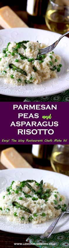This Parmesan, Peas and Asparagus Risotto is creamy, rich, decadent and full of delicate flavors. This easy risotto recipe is made the way Chefs make it in restaurants. No constant stirring required, no guessing how much broth to add, yet it produces perfect creamy risotto every time! With Step By Step Photos #risotto #Italianfood #asparagus #peas #dinner #sidedish #spring via @lmnblossoms
