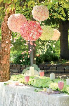 floral chandeliers ~ Cover basic paper lanterns (available in the Card and Party Department at Hobby Lobby) with a flutter of delicate hydrangea blossoms. Just clip the lacy petals from the blooms and hot glue them into place. Tip: For added ambiance, string the flowers onto invisible thread, tie them to the bottom of the lantern, and then let them dangle.