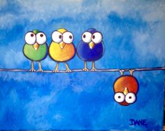 Birds on a Wire is a 11 x acrylics on canvas. Art Drawings For Kids, Bird Drawings, Drawing For Kids, Animal Drawings, Easy Drawings, Art For Kids, Bird Canvas, Canvas Art, Watercolor Bird